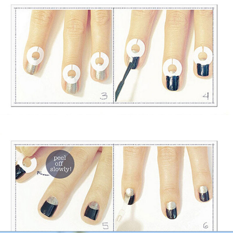 1Pcs DIY French Nail Art Tips Tape Sticker Guide Stencil Manicure ...