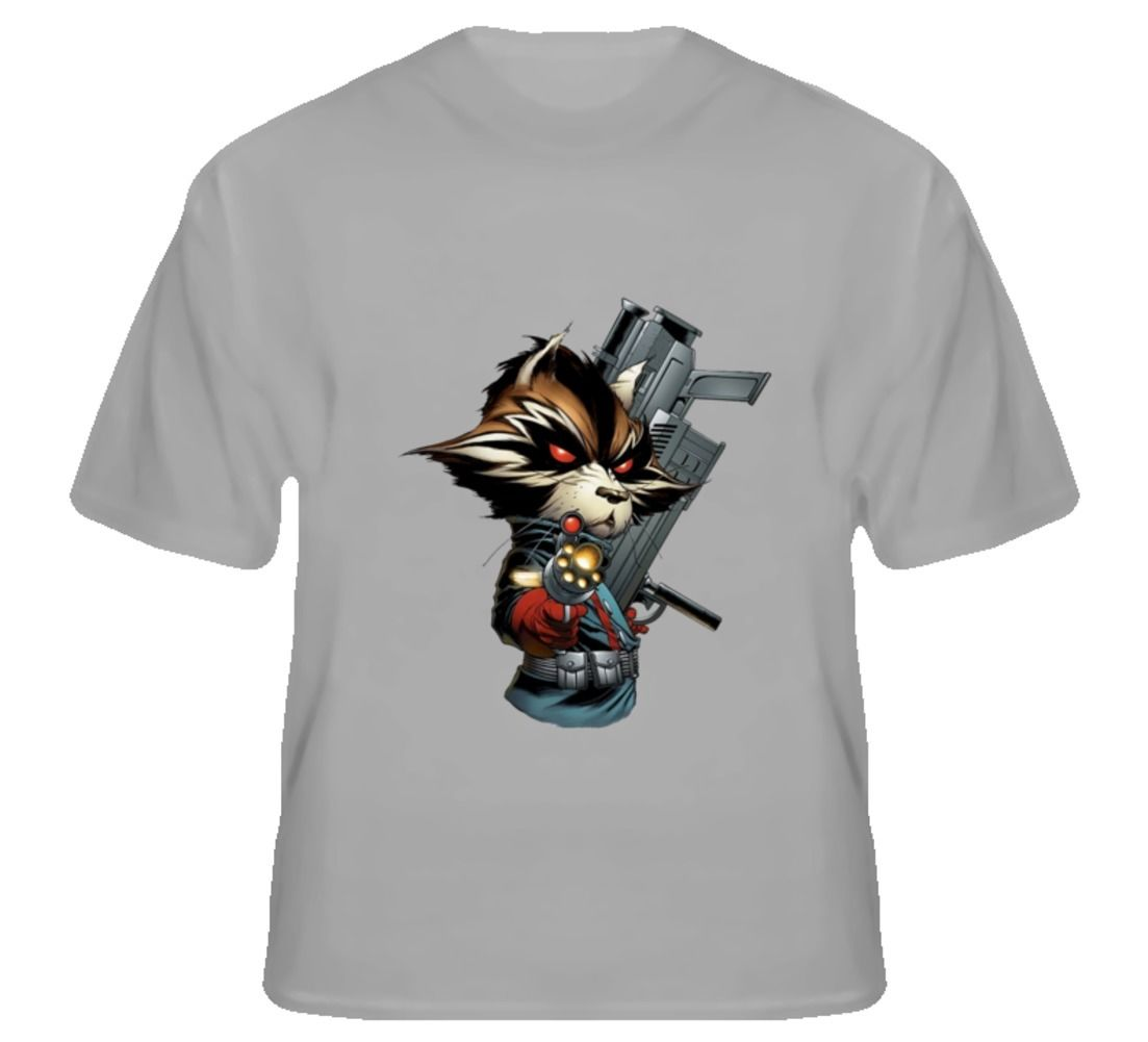 Free shipping Rocket Raccoon Guardians T Shirt Funny Print Tops Men