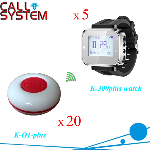 Wireless restaurant calling system 5pcs of waiter wrist watch pager W 20pcs of table buzzer for service 200m wireless restaurant calling waiter system pager for hotel 1 watch 5 buttons