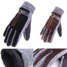 Pigskin Gloves High Quality Winter Thicken Fleece Warm Men's Leather Gloves For Men Mittens Long Gloves Male Leather Gloves 0062