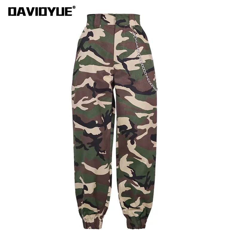 Fashion Chain Military Camouflage Pants Women Army Black High Waist Loose Camo Pants Trousers Street Jogger Sweatpants