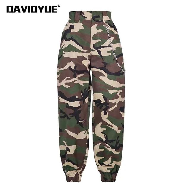 d7d60a673c3a7 2019 Fashion Chain Military Camouflage pants women Army black high waist  loose Camo Pants Trousers Street