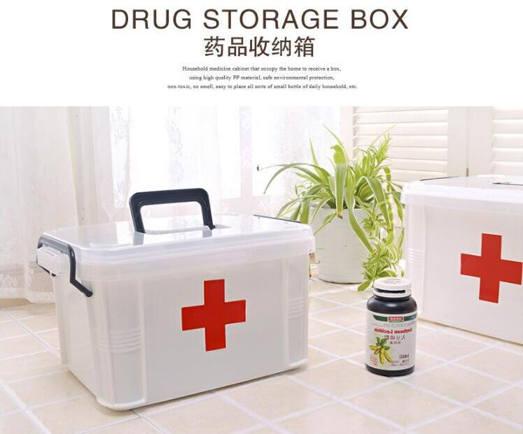 Family portable Multi-layer emergency storage health care box household plastic medicine box extra large цена