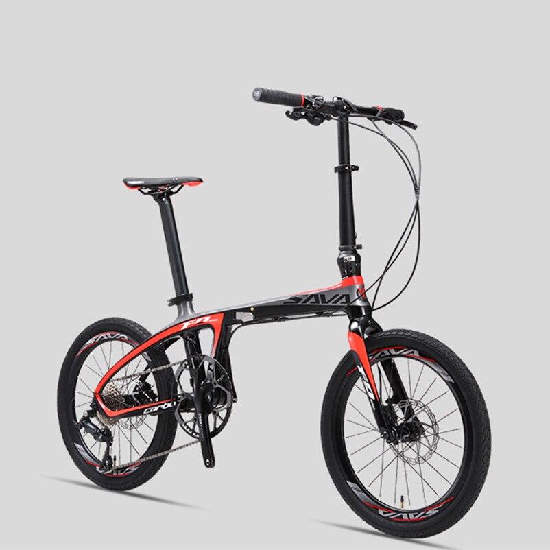 Carbono nueva marca Fibra luz bicicleta plegable deportes al aire libre 20 pulgadas alumunium rueda 9/20/22 velocidad bicicleta doble disco de aceite bicicleta