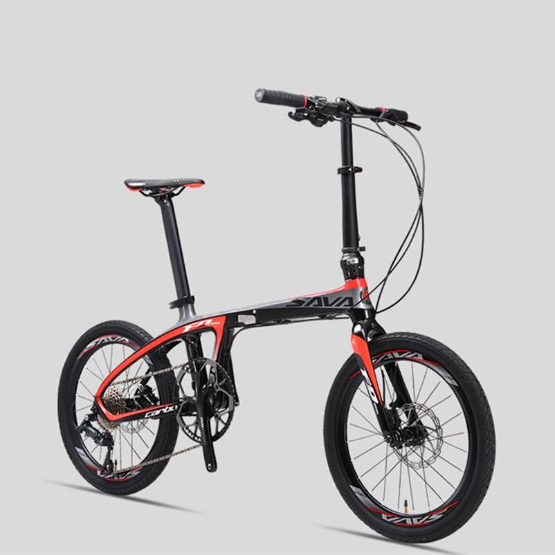 Nueva marca de fibra de carbono luz plegable bicicleta deportes al aire libre 20 pulgadas rueda de aluminio 9/20/22 velocidad bicicleta de doble aceite disco bicicleta