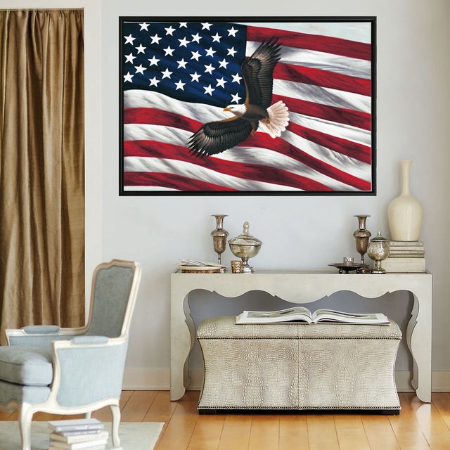 Usa Flag Wall Art Poster Large Size United States Eagle Flag Modern
