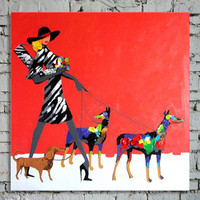 Handmade Abstract Figure Red Oil Paintings on Canvas Modern Home Decor Handpainted Large Wall Painting Art Women & Dogs Pictures