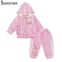 SOSOCOER Baby Girls Clothing Set Spring Fall Hooded Coat Bear Long Sleeve Tops Pants Suits 3pcs