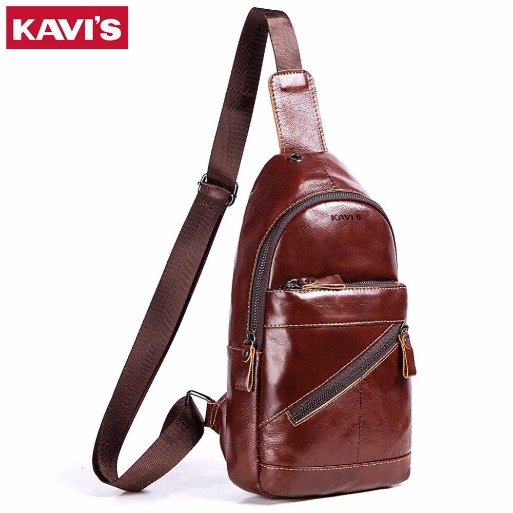 KAVIS Top Quality Vintage Genuine Leather Chest Bag Men Handbag Shoulder Clutch Male Bags Crossbody Messenger