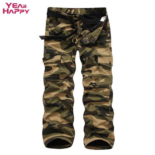 Мужчины брюки-карго мути мульти-карманы брюки молнии с длинным камуфляжные штаны 2016 мода зима загущающие Большой размер брюки Pantalon Homme