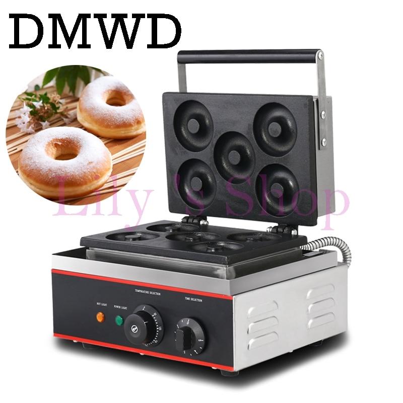 DMWD коммерческих пончик машина выпечки 5 сетки яйцо вафельный пончик торт Бутербродница из нержавеющей стали, Электрический завтрак блин Ут