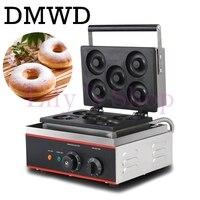 DMWD коммерческих пончик машина выпечки 5 сетки яйцо вафельный пончик торт Снэк чайник из нержавеющей стали, Электрический завтрак блин Утюг