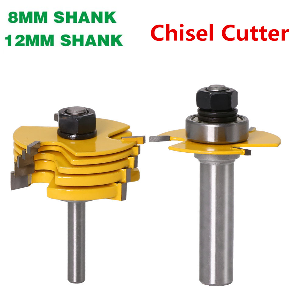 Top Quality 8mm 12mm Shank 3 Wing Wood Router Bit Sets With 6 Piece Slot Cutter Chisel Woodworking Tenon Cutter Tools