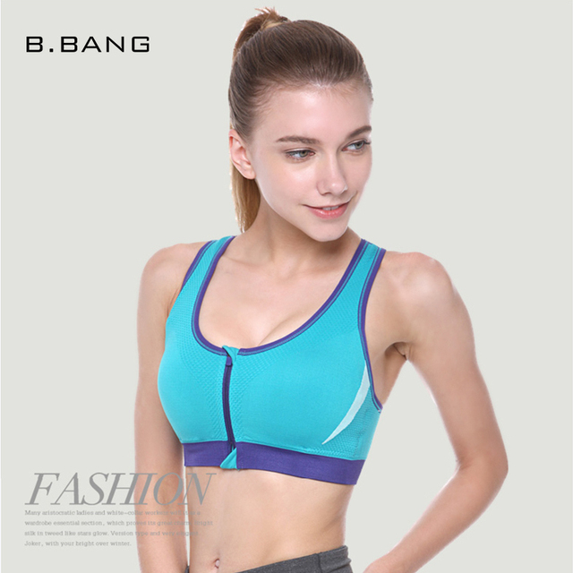B.BANG Women Fitness Bras with Front Zipper New Sexy Deep V Double Layer Padded Shakeproof Top Bras Push Up Underwear Bras