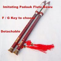 Vertical Playing Bawu Flute F/G Key Flauta Bawu Handmade Detachable BauImitating Padauk Bawu Folk Instrument Bawu for Beginner