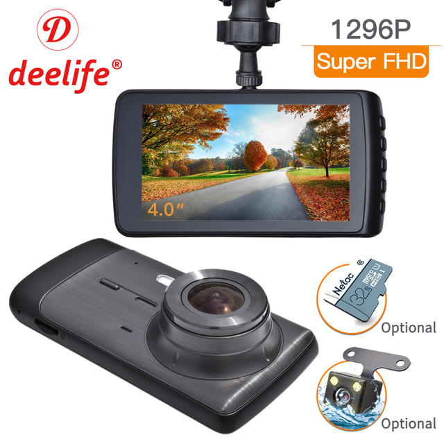 Deelife Dash Cam Car DVR Camera Full HD 1080P Drive Video Recorder Registrator Auto Dashboard 1296P Dual Dashcam Black DVRs Box 1