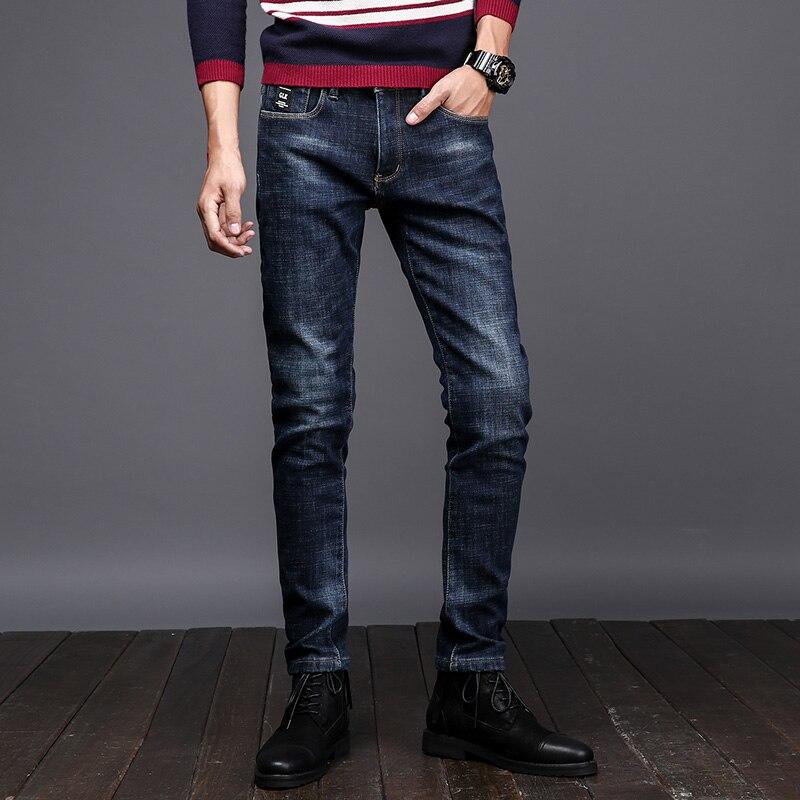 Dark Blue New Autumn Winter Jeans Men Uomo Brand Clothing Mid Stripe Flocking Soft Warm Mens Fleece Jeans Denim Pensil Pants 263 napapijri guji check dark blue