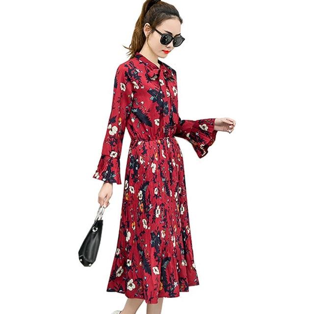 Mujer Vintage Chiffon Lange Mouwen Bloemen Vestidos Jurk Vrouwen pMUzSV