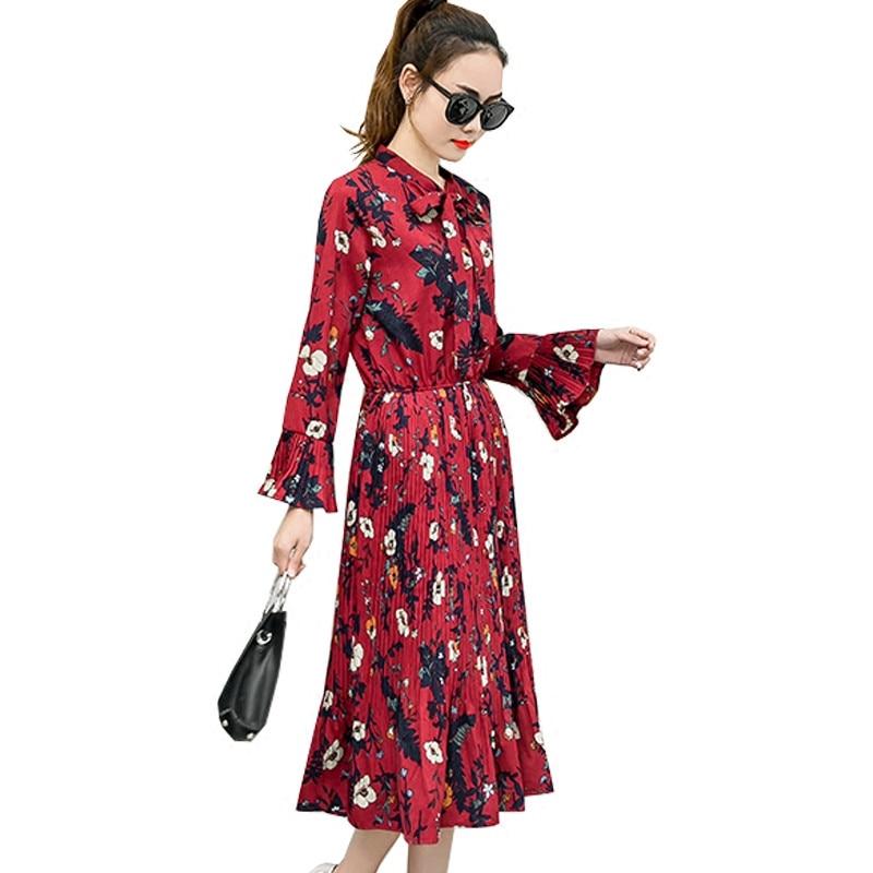 Vintage Floral Chiffon Women Dress Long Sleeve Vestidos Mujer Elegant Maxi Shirt Dress Autumn Long Ladies Pleated Dresses C3529