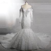 RSW795 Luxury Rhinestone Off Shoulders Long Sleeve Lace Mermaid Wedding Dresses