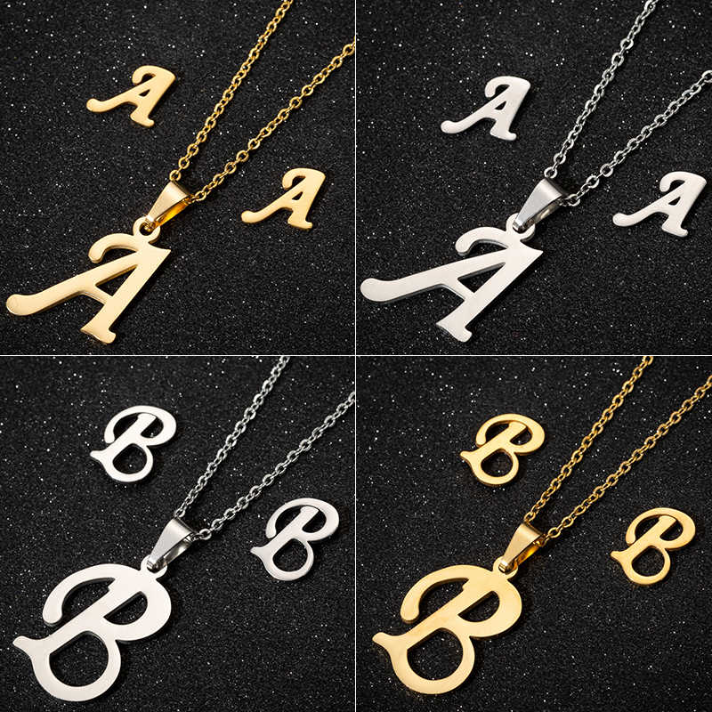 Jisensp Simple Fashion 26 Letter zestaw biżuterii alfabet wisiorek z długim łańcuszkiem naszyjnik kolczyki dla kobiet zestawy biżuterii ślubnej