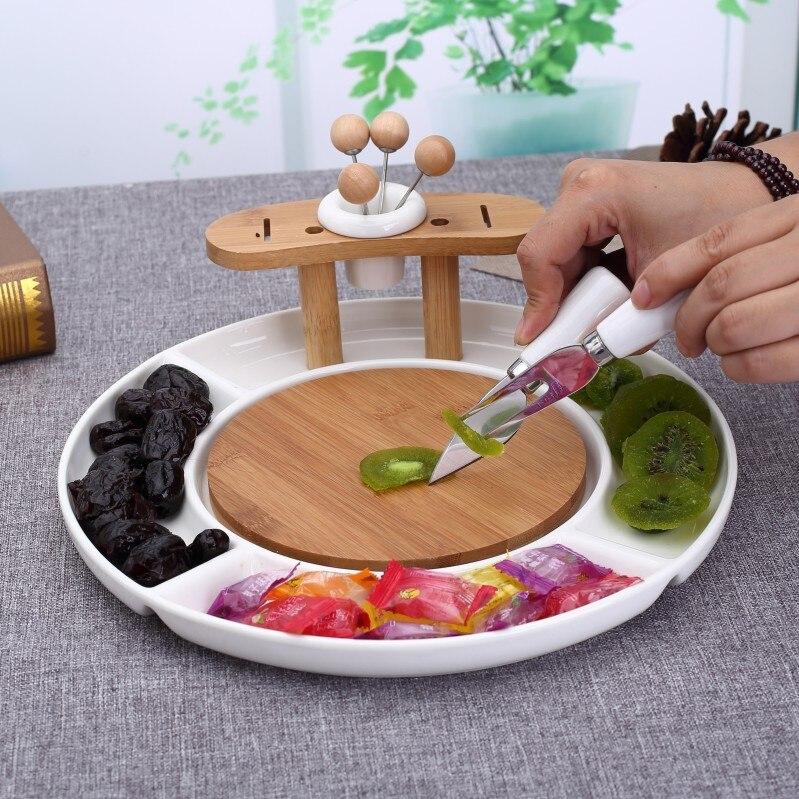 Assiette à fruits en céramique porcelaine | Divisions pratiques décoratives plateau de service à gâteaux, assiette à Snack, vaisselle en bambou ustensiles de cuisine