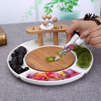 Convenient Divisions Ceramic Fruit Plate Decorative Porcelain Cake Serving Tray Snack Dish Bamboo Dinnerware Utensil Kitchenware