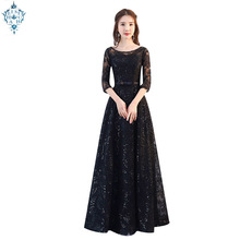 Ameision 2019 new arrival fashion formal long black color Sequin elegant lace evening dress