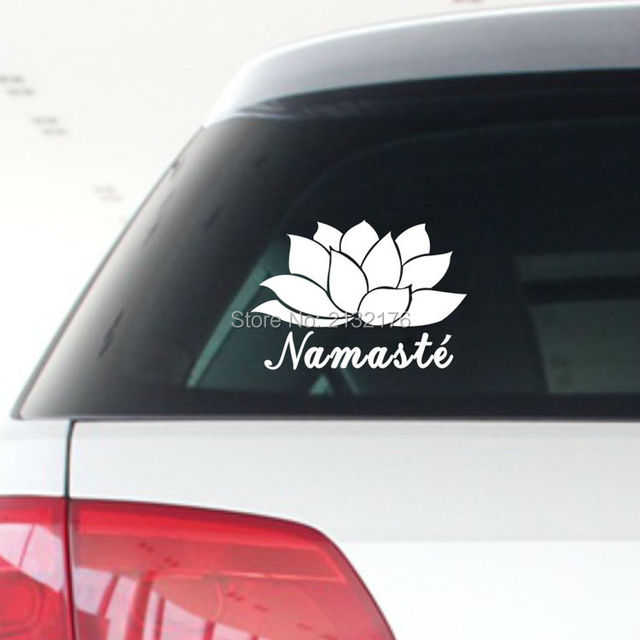 Namaste flower and text india yoga vinyl car sticker symbol silhouette keypad track decal laptop skin