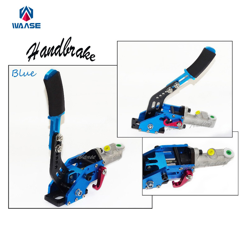 цена Blue Universal Aluminium Auto Hydraulic Handbrake C-Style Vertical Adjustable Drift Rally Racing E-Brake Lever в интернет-магазинах