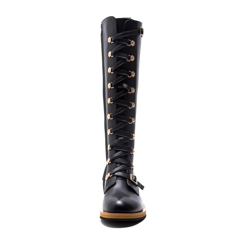 Nouvelle 2018 Punk Mode Cuir Genou Zipper Liée Noir Chaussures Femme Véritable Croix Arrivée Bottes Haute De Morazora Automne Femmes En ONnk8X0wP