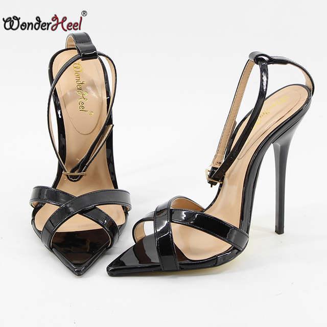 91f4d91bcb81 Wonderheel Extreme high heel 14cm stiletto heel ankle strap pointed toe Sexy  High Heel fashion sexy