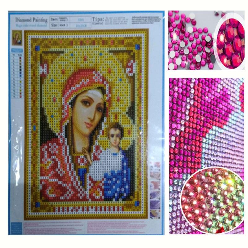 Ամանորյա նվեր DIY 5D ադամանդի ասեղնագործություն Կրոն Սրբապատկերներ Բյուրեղյա կլոր ադամանդե նկարչություն