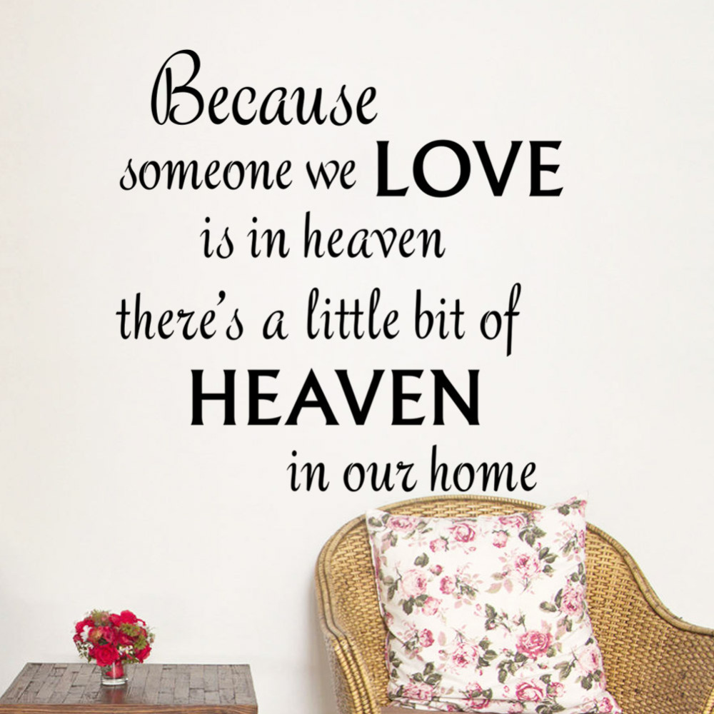 New warm quote love heaven home decal wall sticker
