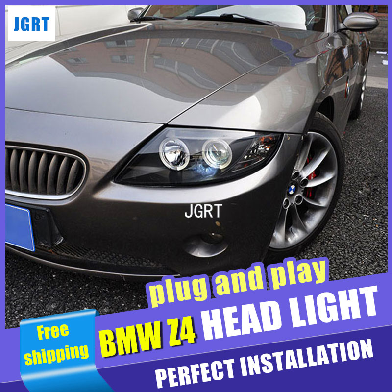 Car Styling  Headlights 2004-2007 for BMW Z4 DoubleU Angel Eye LED DRL Lens Double Beam H7 HID Xenon bi xenon lens hireno car styling headlamp for 2004 2008 peugeot 206 headlight assembly led drl angel lens double beam hid xenon 2pcs