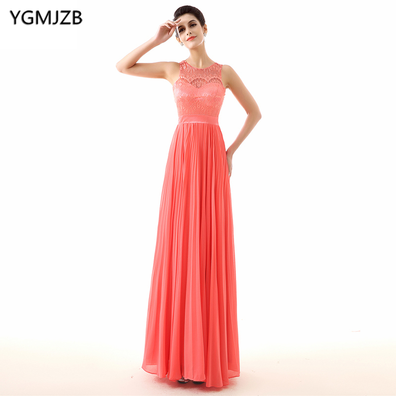 Cheap Pink   Bridesmaid     Dresses   2018 A Line O Neck Chiffon Lace Wedding Party   Dress   Floor Length Open Back Long   Bridesmaid     Dress