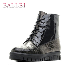BALLEI Handmade Vintage Woman Ankle Boots Quality Genuine Leather Retro Round Toe Low Heel Shoes Classic Lace-up Zipper Boot B11