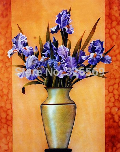 Free Shipping Purple Flower Vase Artwork Reproduction Prints Canvas