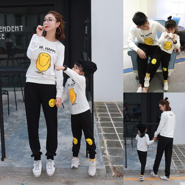 Ropa de La familia Establece Más Tamaño de Manga Larga T-Shirt XL Coincidentes Madre Ropa de Algodón Sonrisa Hoodies Madre Padre Hija Bebé