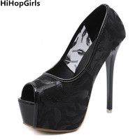 HiHopGirls New Woman Fashion Pole Dance Shoes Party Wedding Peep Toe Pumps Sexy 14 CM Fetish High Heels Shoes