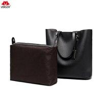 Vbiger Fashionable 2 In 1 PU Leather Handbag Stylish Top Handle Tote Bag Casual Shoulder Bag