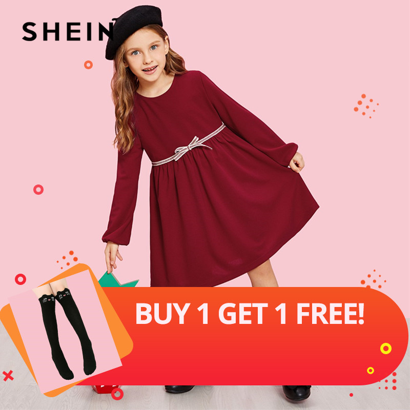 SHEIN Girls Burgundy Zip Back Bow Front Cute Dress 2019 Spring Korean Long Sleeve A Line Elegant Kids Dresses For Girls Clothing baby girls dress floral print sleeveless summer dresses 2017 new fashion kids clothing flower a line princess frocks 3 10y gd111
