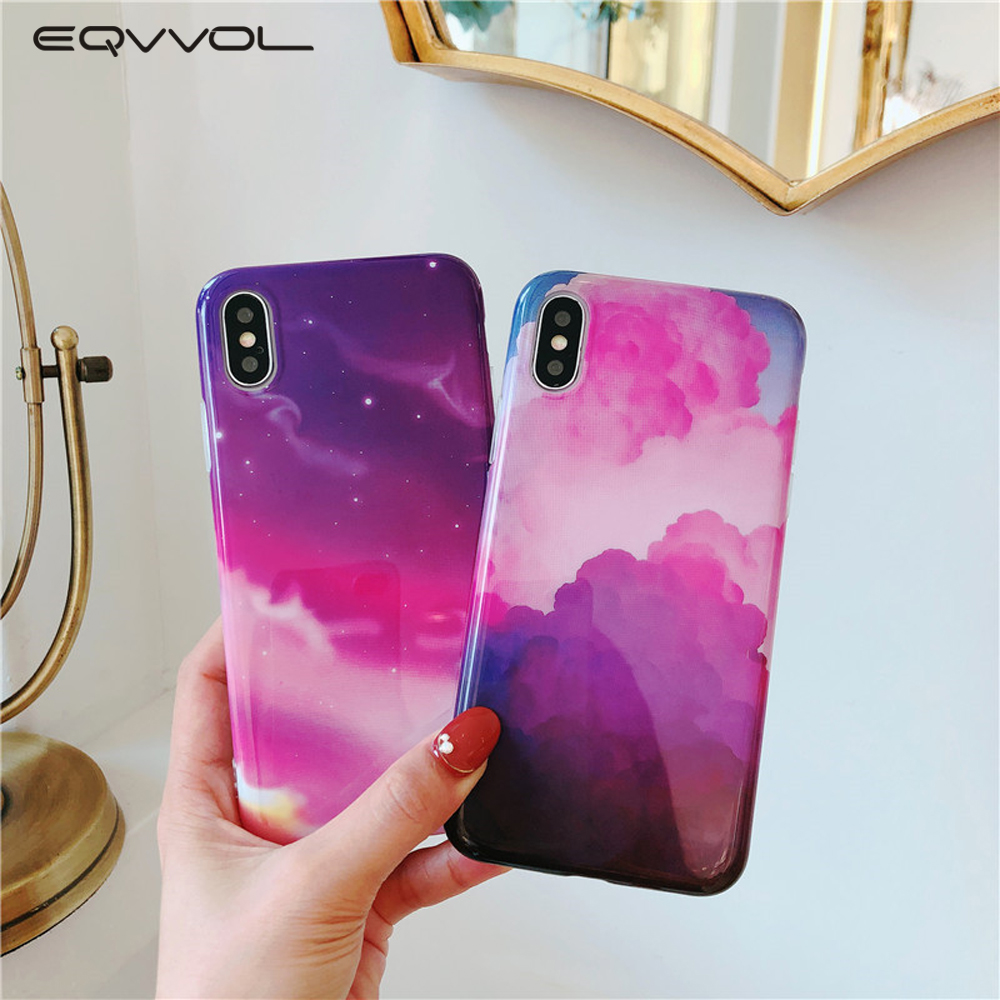 EQVVOL Luxury Marble Phone Case For iPhone XS MAX XR XS 8 7 6 6s Plus Cases Colorful TPU Back Cover Rainbow For Apple 10 Housing