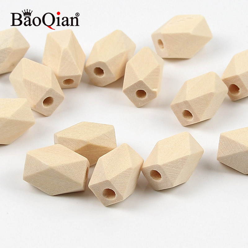 10Pcs Natural Unfinished Long Geometric Lead-free Wooden Beads For Jewelry Making Diy Children Teething Wood Crafts