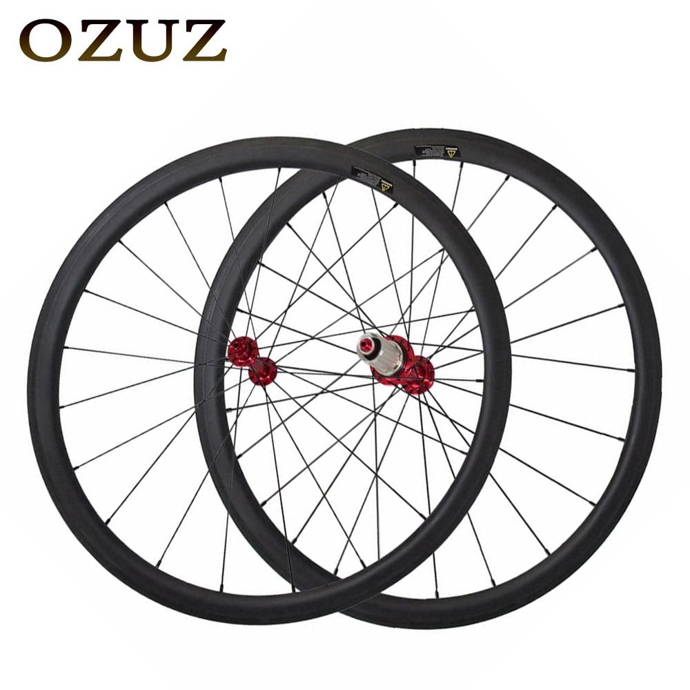 OZUZ 38mm 700C 23mm Largura Profundidade Clincher Rodado de Carbono Super leve Rodas De Carbono Bicicleta de Estrada Powerway Hub R13 rodas par