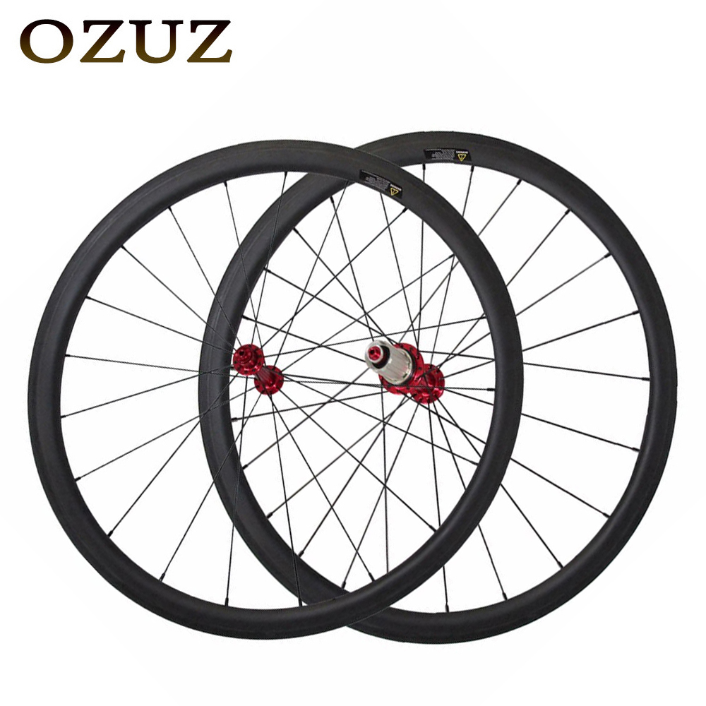 OZUZ 38mm Depth Carbon Clincher Wheelset 23mm Width Super lightweight 700C Carbon Wheels Road Bike Powerway