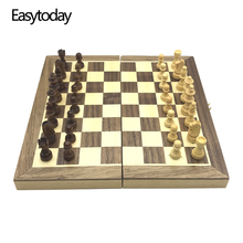 Easytoday Wooden Chess Games Set Magnetic Folding Chessboard Solid Wood Pieces Entertainment Table Friend Gift
