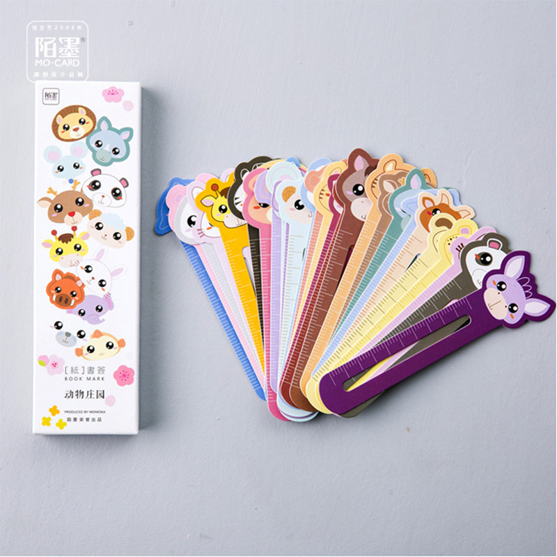 30pcs/box Kawaii Animal Manor Book Folder Ruler Decorative Cartoon Bookmarks Office School Supply Stationery Gift Free Shipping