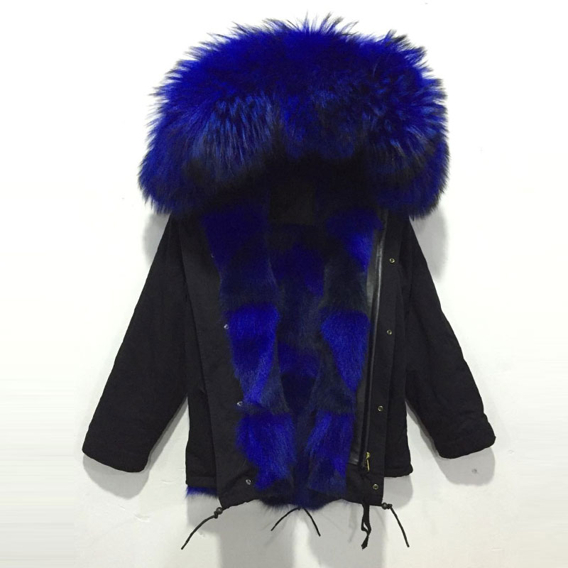 New Arrival Black Jacket With Bright Blue Wolf Fur Jacket Free Shipping Big Collar