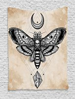 Decor Tapestry, Dead Head Hawk Moth with Luna and Stone Spiritual Magic Skull Illustration, Wall Hanging Tapestry